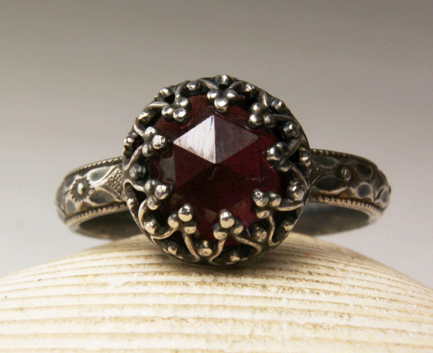 Sterling Silver Garnet Ring, Natural Gemstone, June Birthstone, Handmade Custom Jewelry, custom sized by TazziesCustomJewelry on Etsy