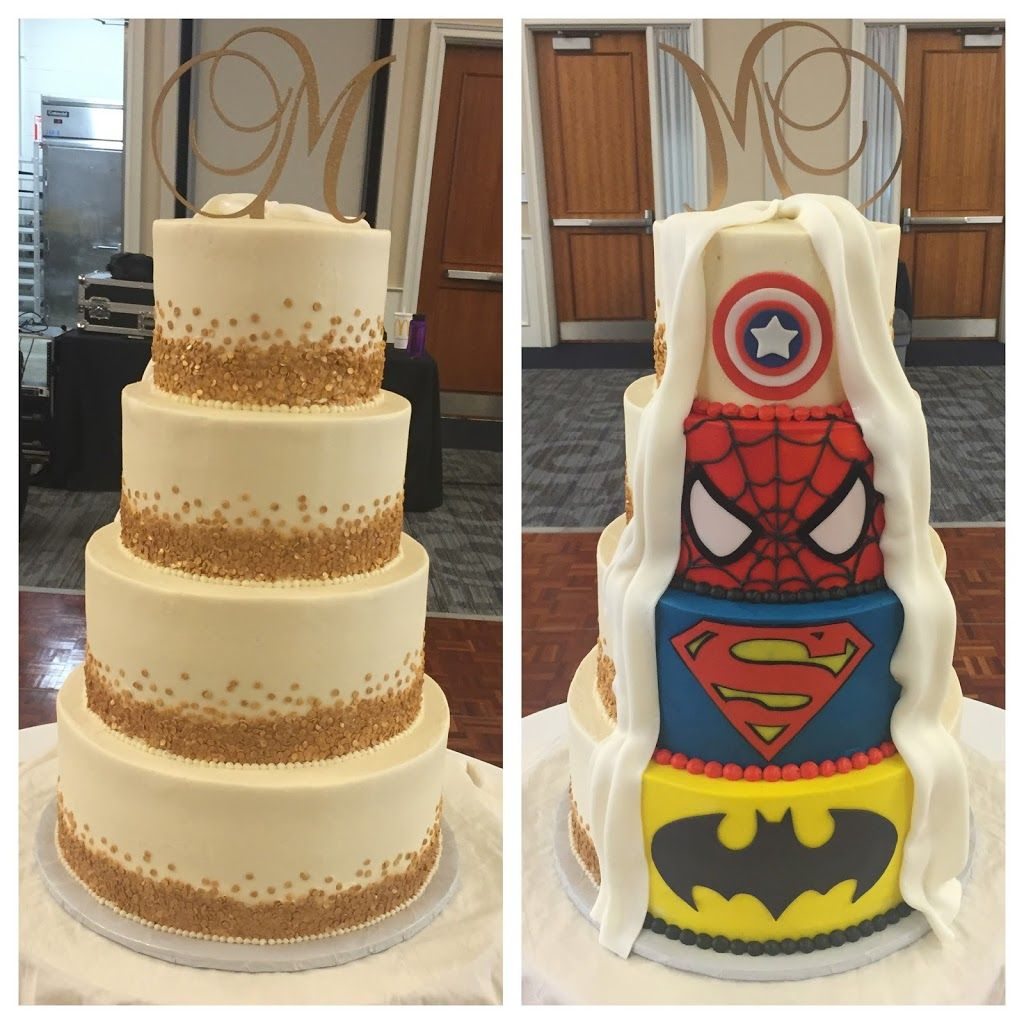 Gold confetti and superhero wedding cake www KellysCakery com   Cake     Gold confetti and superhero wedding cake www KellysCakery com