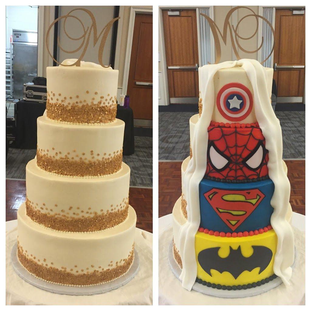 Gold Confetti And Superhero Wedding Cake Www Kellyscakery Com
