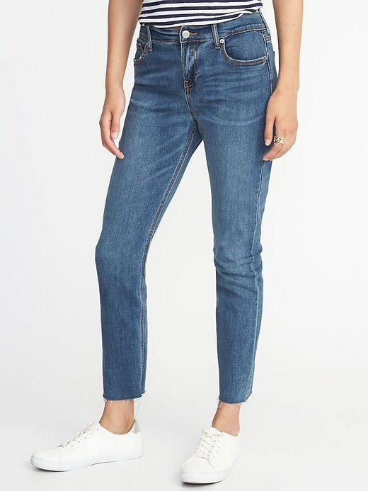 bbc0ce52c2269 Old Navy Women's Mid-Rise Raw-Hem Straight Ankle Jeans Blue Bell Regular  Size