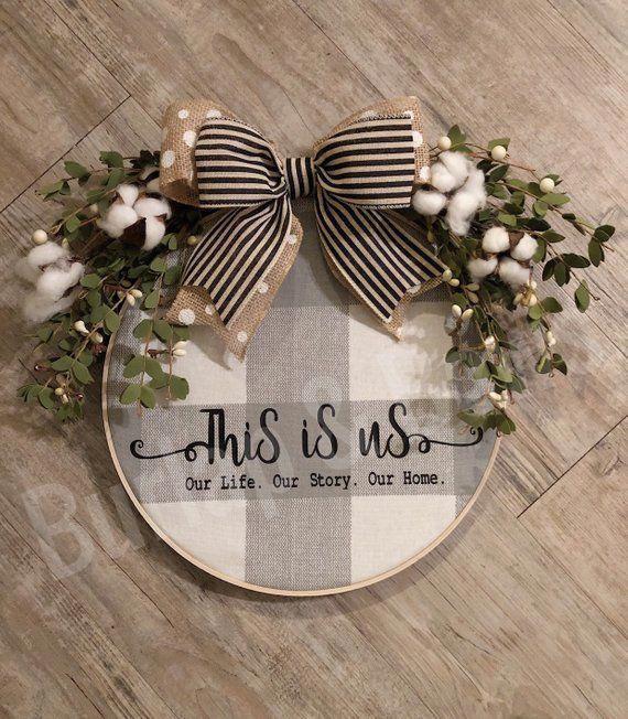 Photo of Farmhouse wreath, hoop wreath, farmhouse decor,