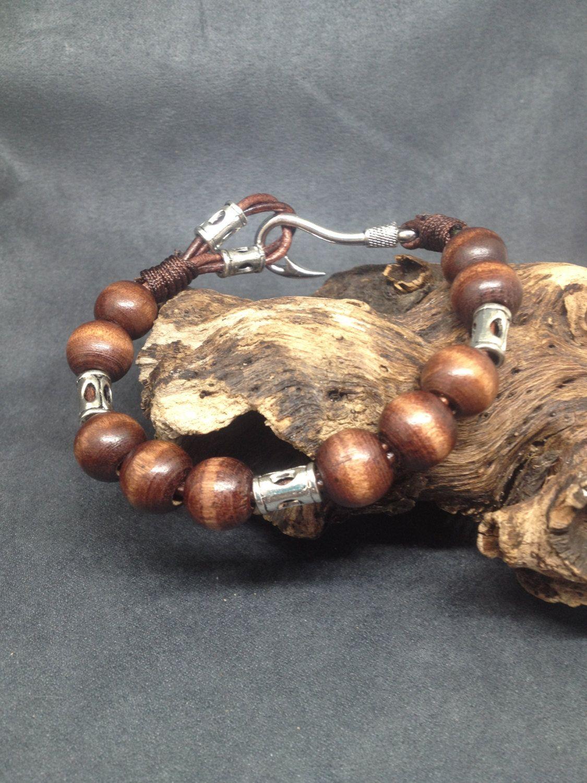 Men's Wood Bracelet, Wooden Bead Wrap, Boho Wood Bead Bracelet, Rocker Bracelet, Plus Size Bracelet, Zen Bracelet by KarenMSmithDesigns on Etsy
