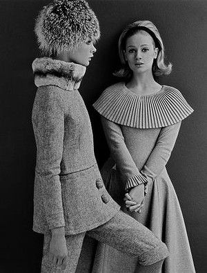 Bright young things: Mary Quant fashions  modelled by Jean Shrimpton  and Celia Hammond.