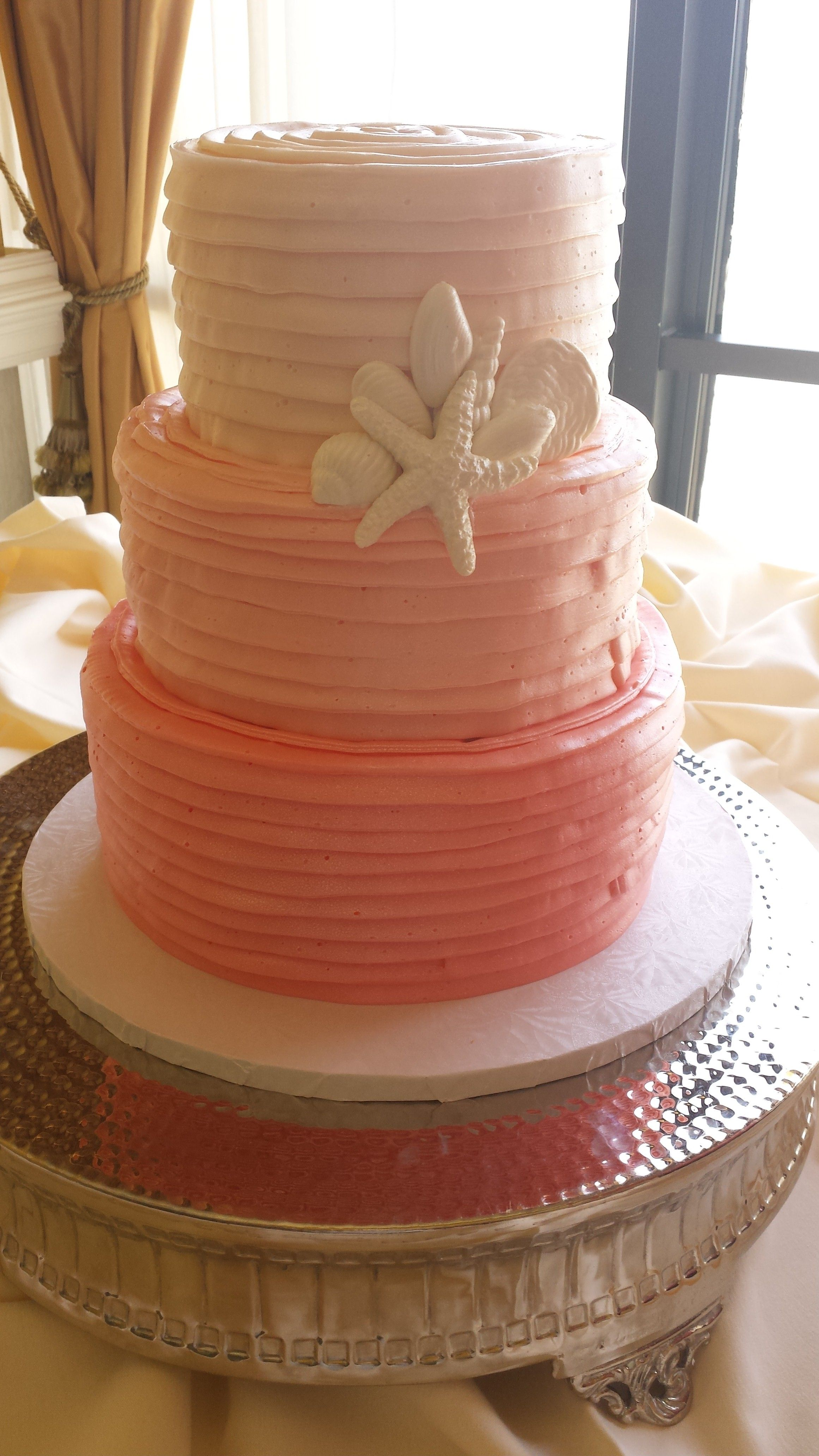 Ombre C Beach Wedding Cake