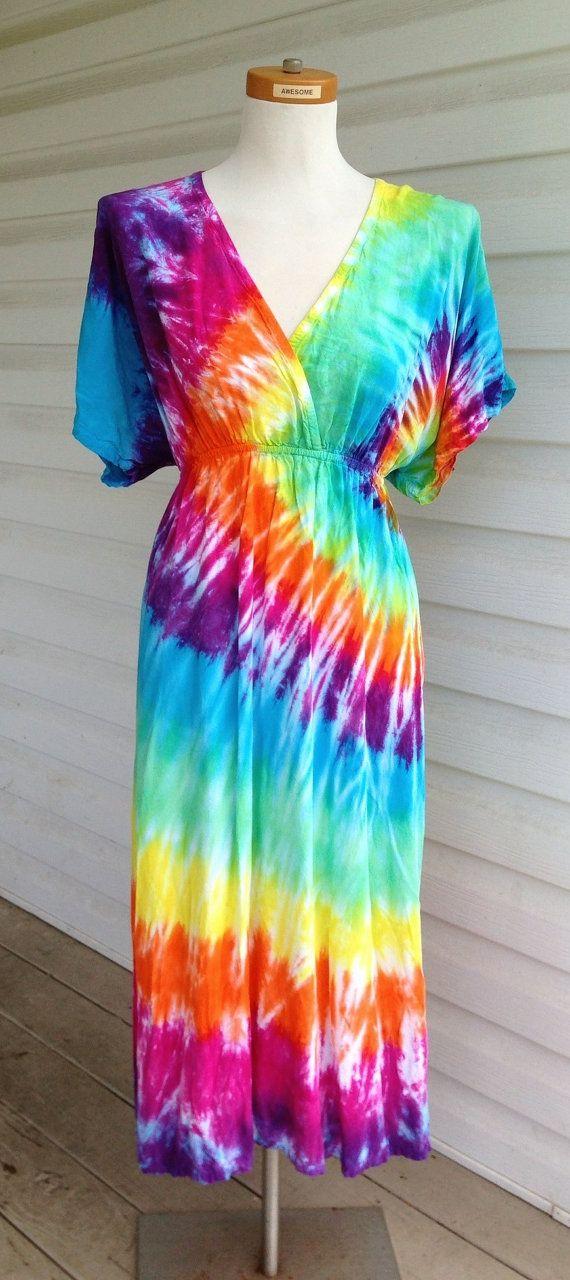 Plus Size Tie-Dye Dress with Kimono Sleeves, Rainbow Colors ...
