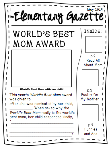 Mother S Day Writing Newspaper Activity Newspaper