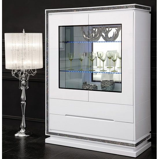 Kiara Display Cabinet In White Gloss With Rhinestones And Lights
