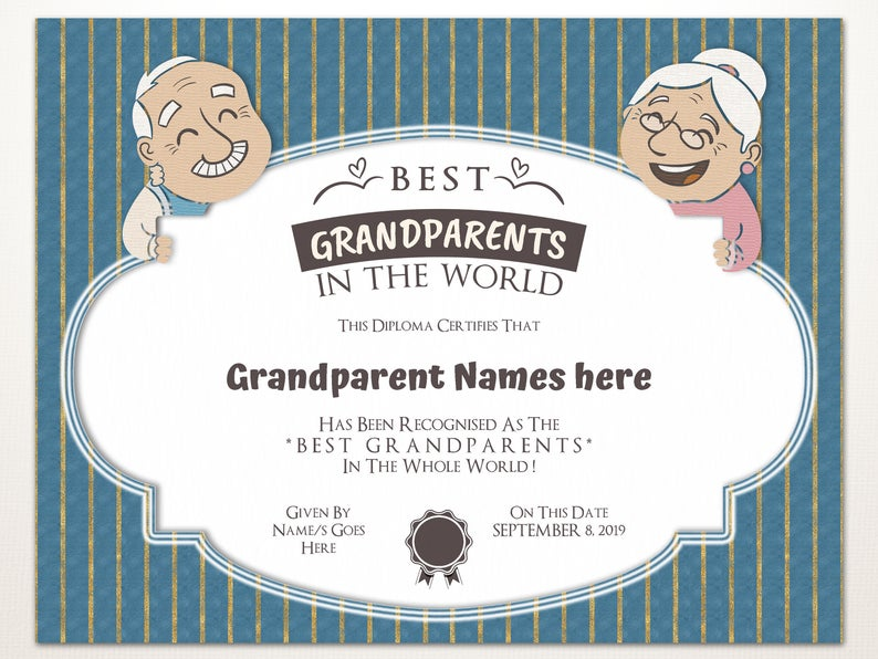 Best Grandparents in the World, Gift for Grandparents Day, Editable Certificate Template, Best Grandma, Best Grandpa, Instant Download #bestgiftsforgrandparents
