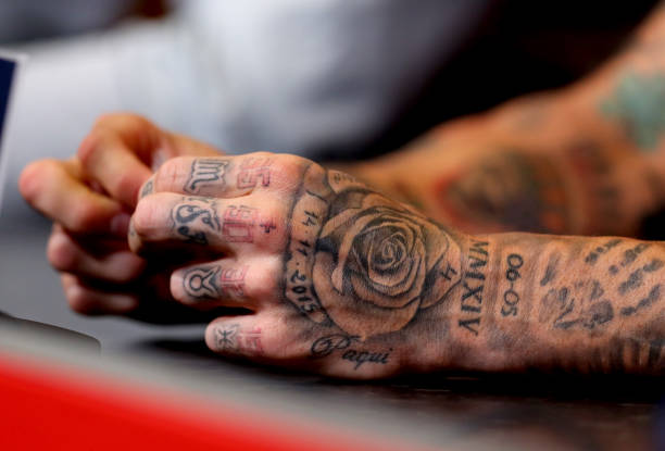 ramos sergio tattoos spain tattoo detailed hands gettyimages veiw during getty england london september conference press wembley ivill catherine arena