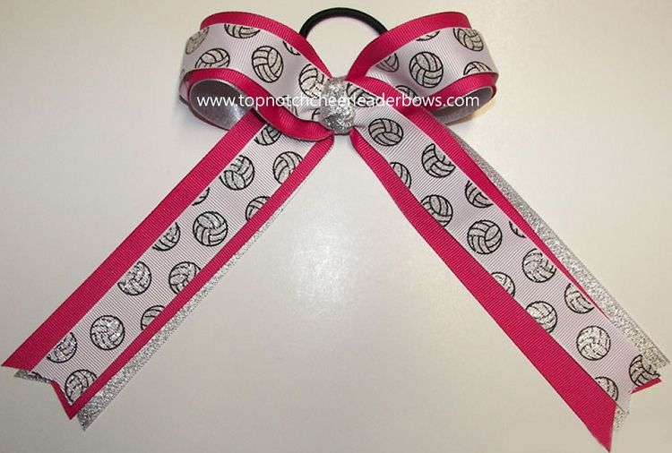 Pink Volleyball Bow, Volleyball Pink Silver Bow