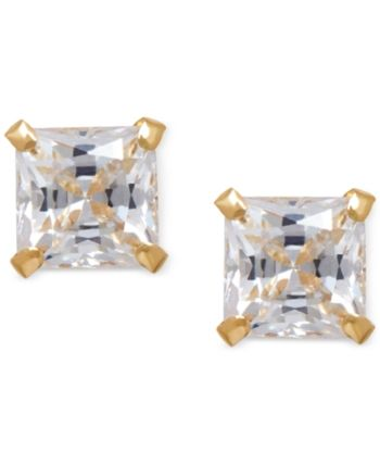 e4f0346feac92 Cubic Zirconia Square Stud Earrings in 14k Gold - Yellow Gold in ...