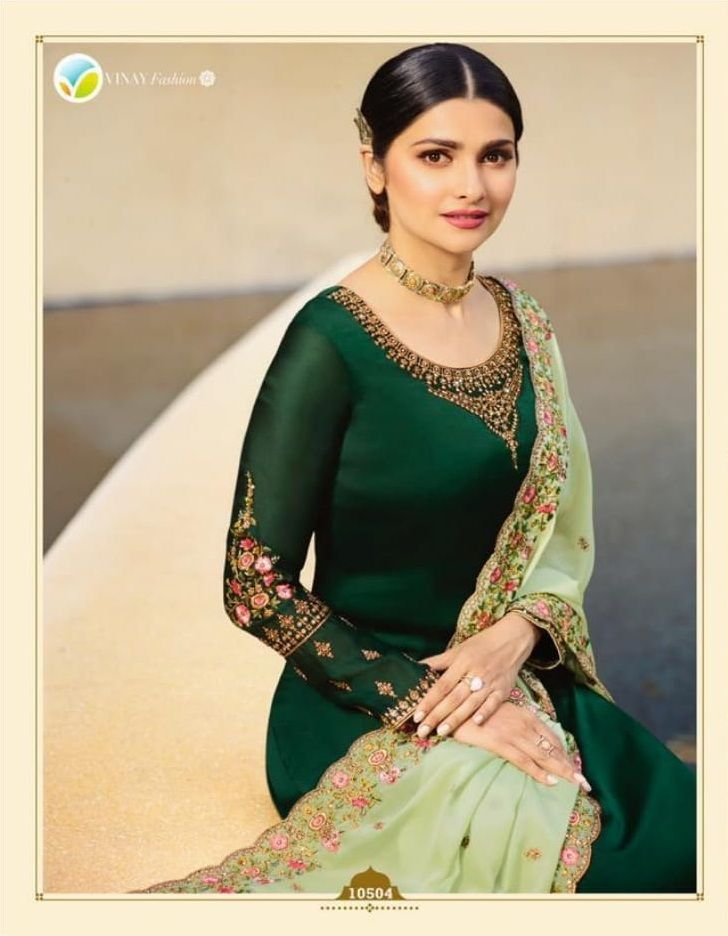 7e244c6a15 Vinay Fashion Presents Kasheesh Dua Satin Georgette With Embroidery Work  Salwaar Suits 10504