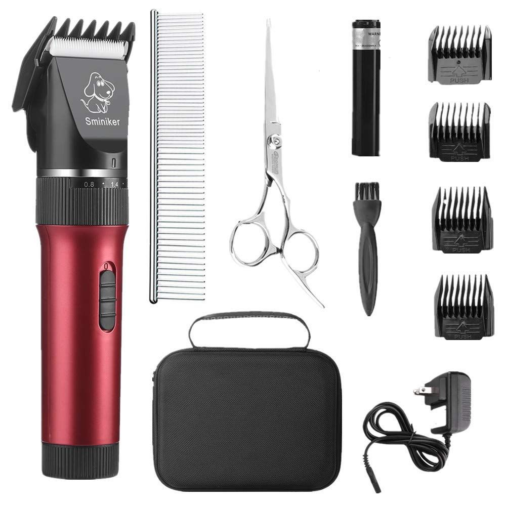 Sminiker Low Noise Cat And Dog Clippers Rechargeable Cordless Pet Clippers Grooming Kit With Storage Bag 5 Speed Profess In 2020 Dog Clippers Pet Grooming Grooming Kit