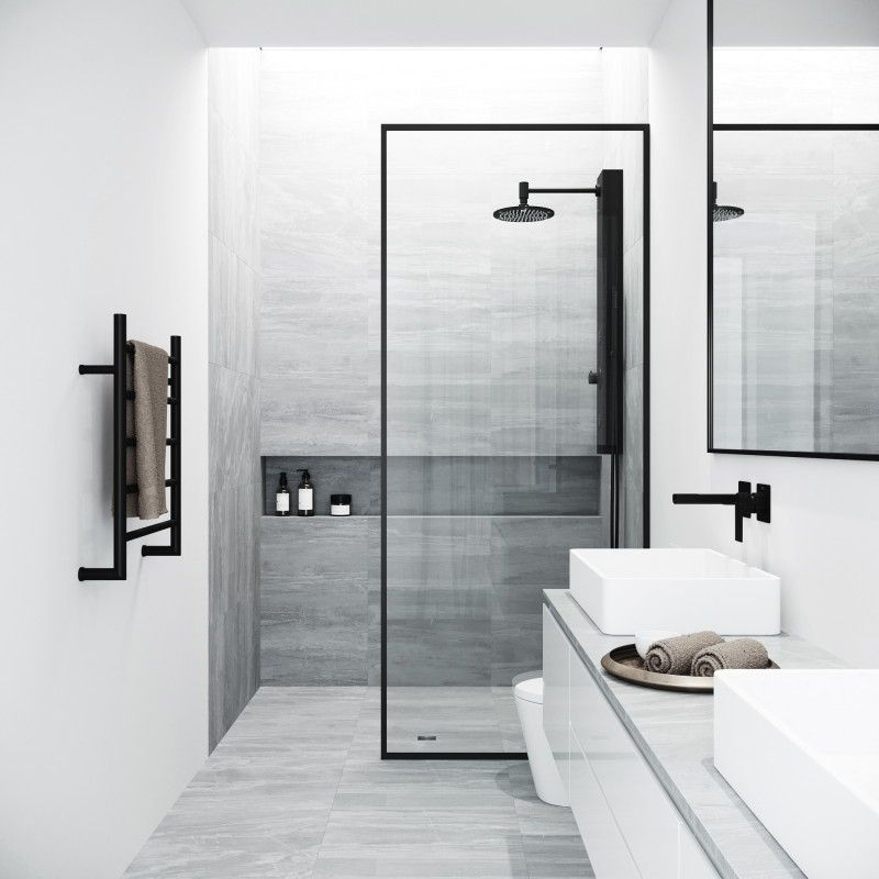Bathroom Design Idea Black Shower Frames Cpmplete Your Bathroom With The Vigo Fixed Glass Shower Screen B Shower Doors Black Shower Doors Bathrooms Remodel