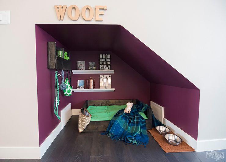 Diy Under Stairs Dog Nook With Handmade Dog Bed Organizer The Diy Mommy Dog Bedroom Dog Nook Dog Spaces