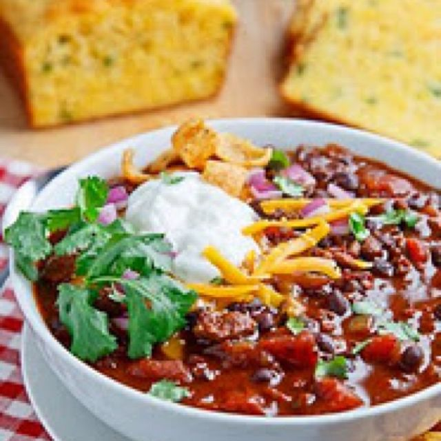 Beef and black bean chili from closetcooking.com. Looks like a great meal for Super Bowl Sunday!