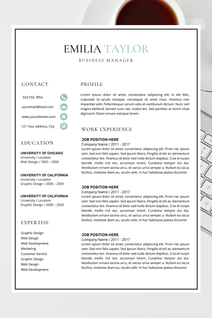Resume Cv Template Cover Letter With Images Resume
