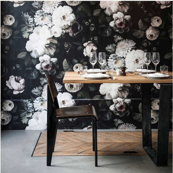 Dark Floral Wallpaper Powder Bathroom Black Floral