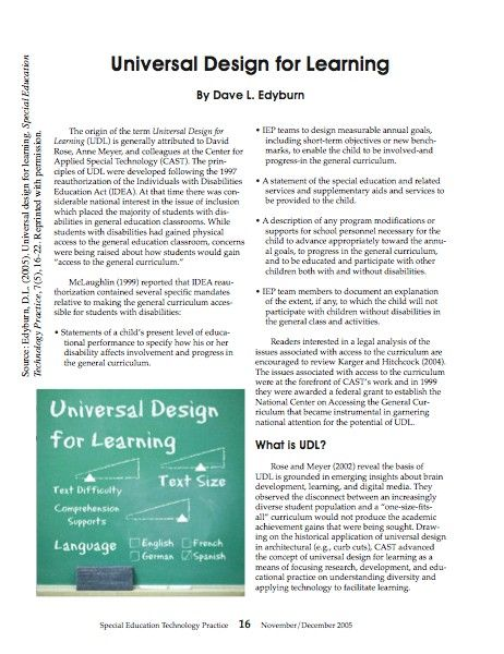 Setp special education technology practice universal - Universal design for learning lesson plans ...