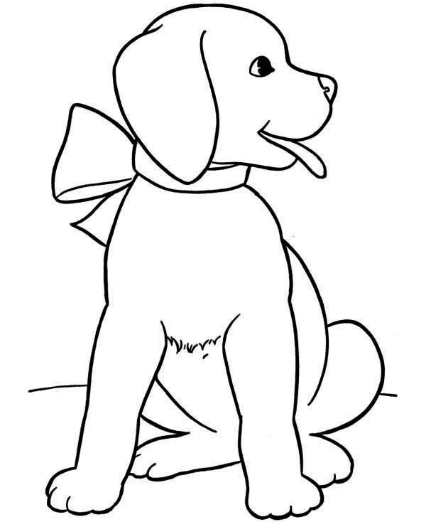 Puppy As A Present For You Coloring Page Jpg 600 734 Dog Coloring Page Puppy Coloring Pages Animal Coloring Pages