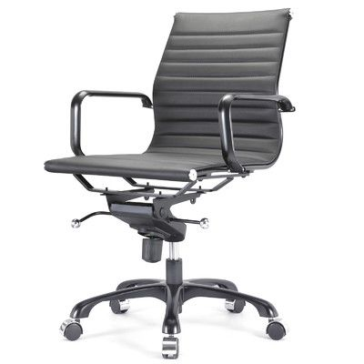 mid back vegan leather executive managerial chair with arms office