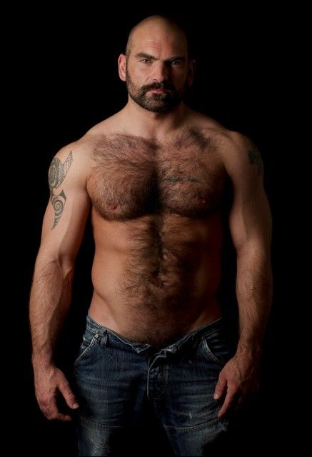 Hairy Muscle Bear. Men. Beards. Ink.
