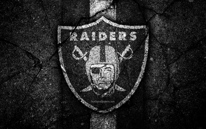 Download wallpapers 4k, Oakland Raiders, logo, black stone
