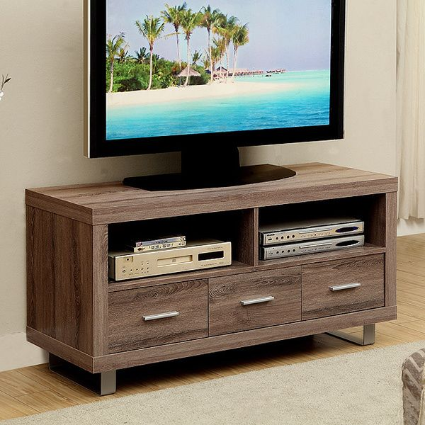 Dark Taupe Reclaimed Look 48 Inch Tv Console With 3 Drawers