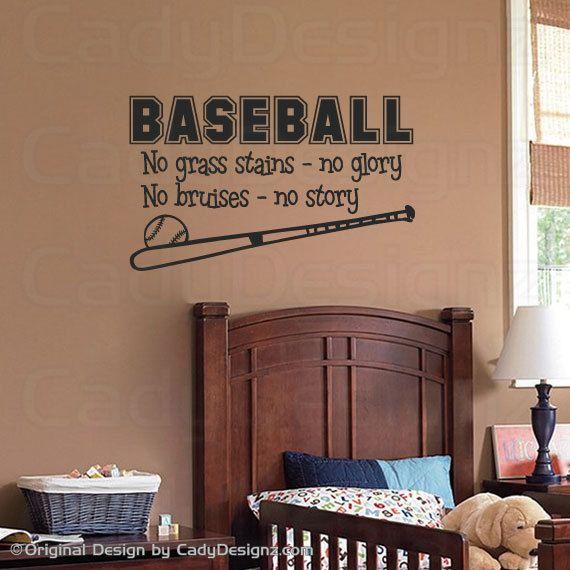 Baseball Sports Vinyl Wall Decal Baseball Quote No Grass - Vinyl wall decals baseball