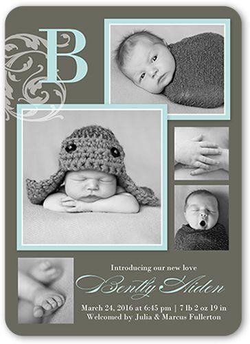 Birth Announcement: Flourish Monogram Boy, Rounded Corners, Brown