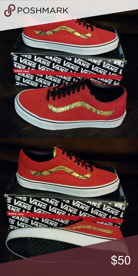 """d4e641b9ffb0ec Old School (Snake) Red and Gold Snakeskin and suede combine to create the  new Vans Old Skool """"Snake"""" Red Gold. This latest style code of the classic  Van Old ..."""