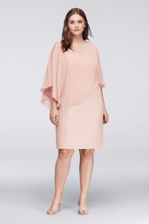 e0950129199 The glittery sparkle of this textured stretch jersey plus size sheath dress  shines softly through the sheer chiffon cape overlay.