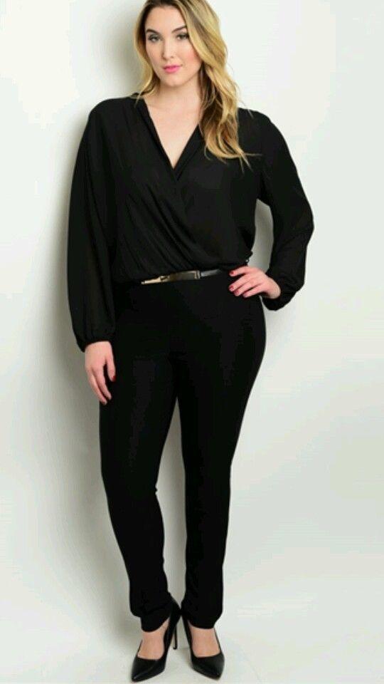 Brand New Plus Size Long Sleeve Classy Black Jumpsuit Size 3x Plus