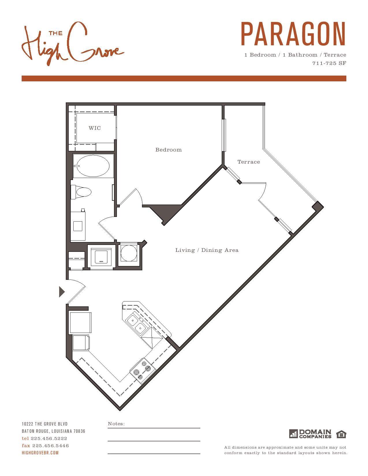 Paragon One Bedroom Floor Plan