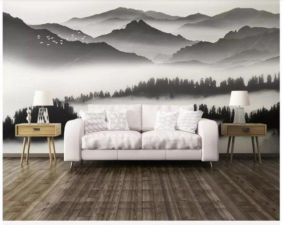 Ink Abstract Mountains Wallpaper Wall Mural Grey And White