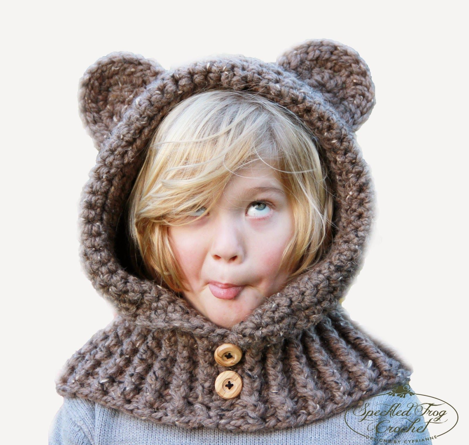 Free Crochet Fox Cowl Hat Pattern : Speckled Frog Crochet: CROCHET HOODED BEAR COWL PATTERN ...