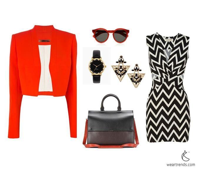 como blogueiros de moda, como roupas: terno universal   Victoria Beckham blazers curtos vermelho-alaranjado
