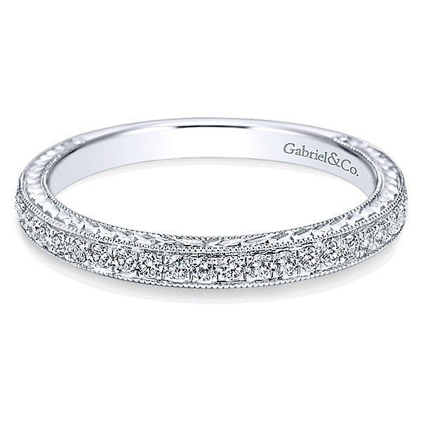 14K White Gold .30cttw Bead Set Round Diamond Wedding Band with Engraved Shank