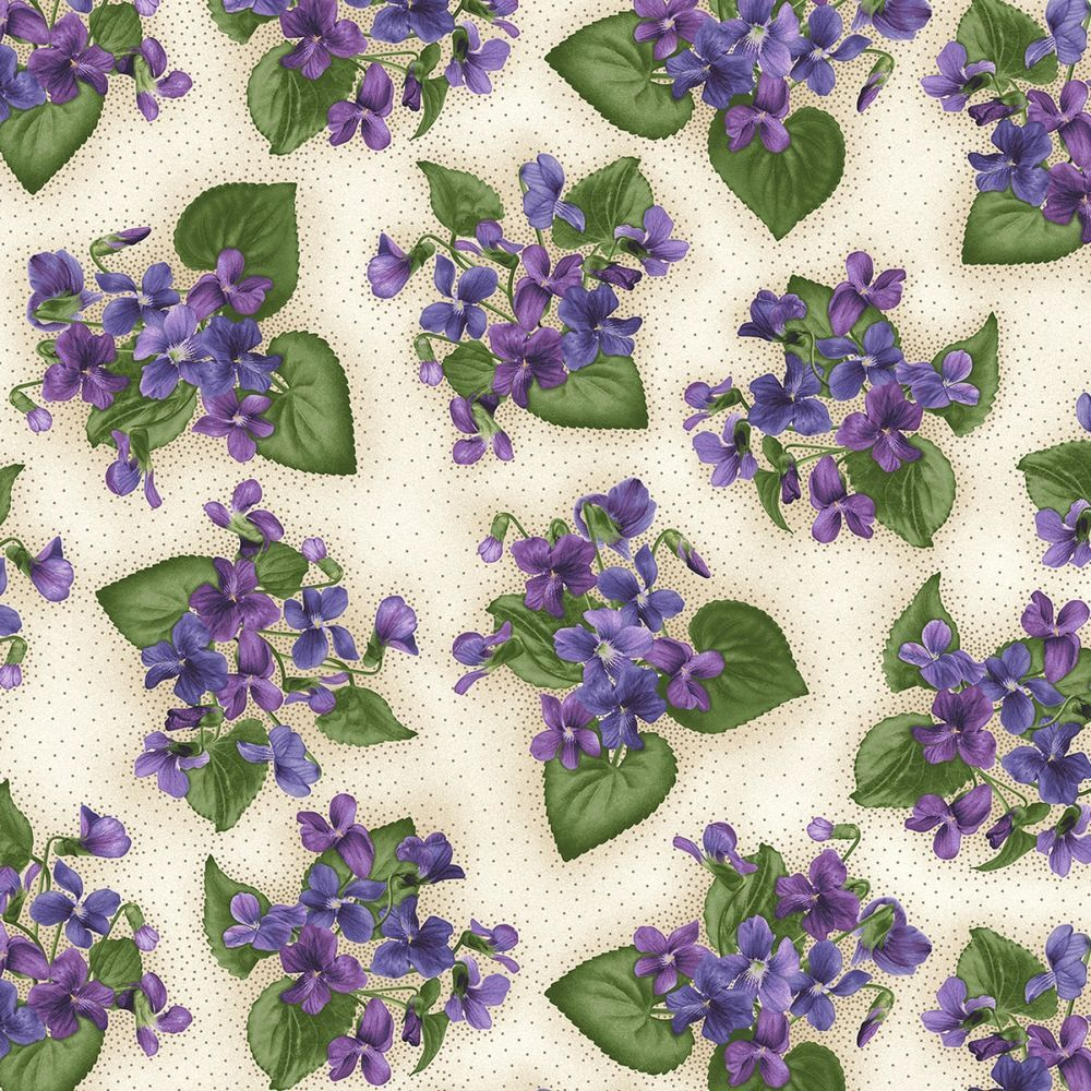 Violet Houndstooth Tonal Arabella Beaves Floral Quilt Fabric by the 1//2 yd