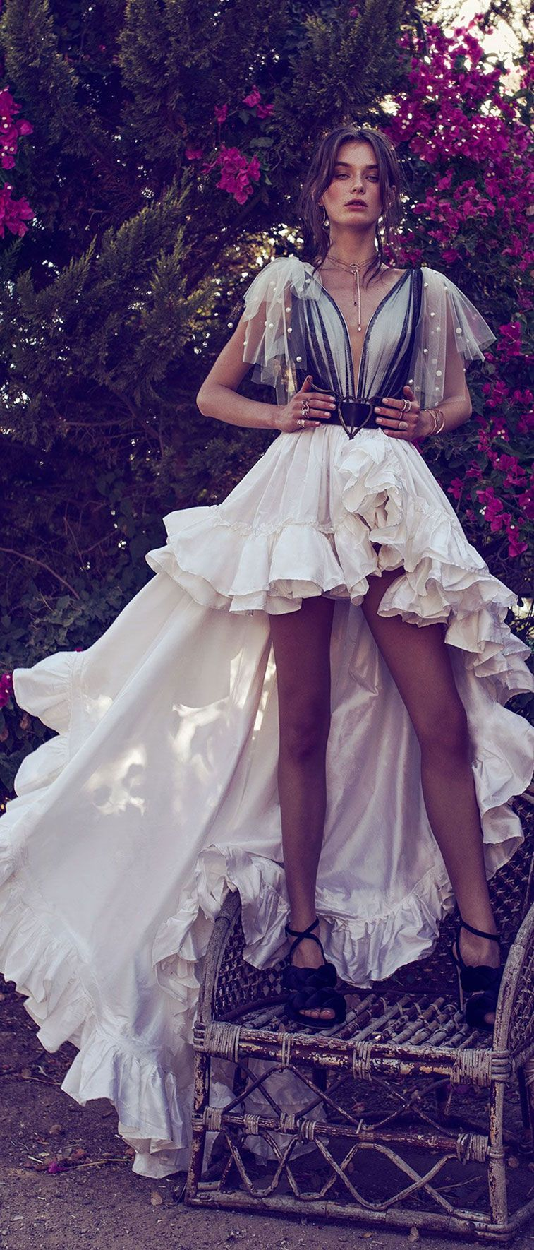 two piece wedding gown sheer net on back and on middle of V plunge. Detachable shoulders bows ruffle decoration all around skirt high and low wedding dress #wedding #weddingdress #weddinggown