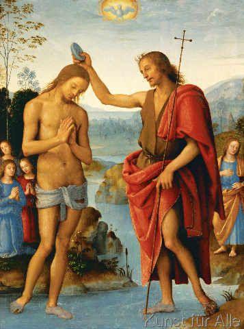 Kunstdruck Die Taufe Christi Von Pietro Perugino Auf
