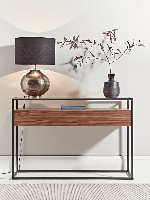 Walnut Glass Console Table In 2020 Console Table Decorating Entryway Console Table Console Table Hallway