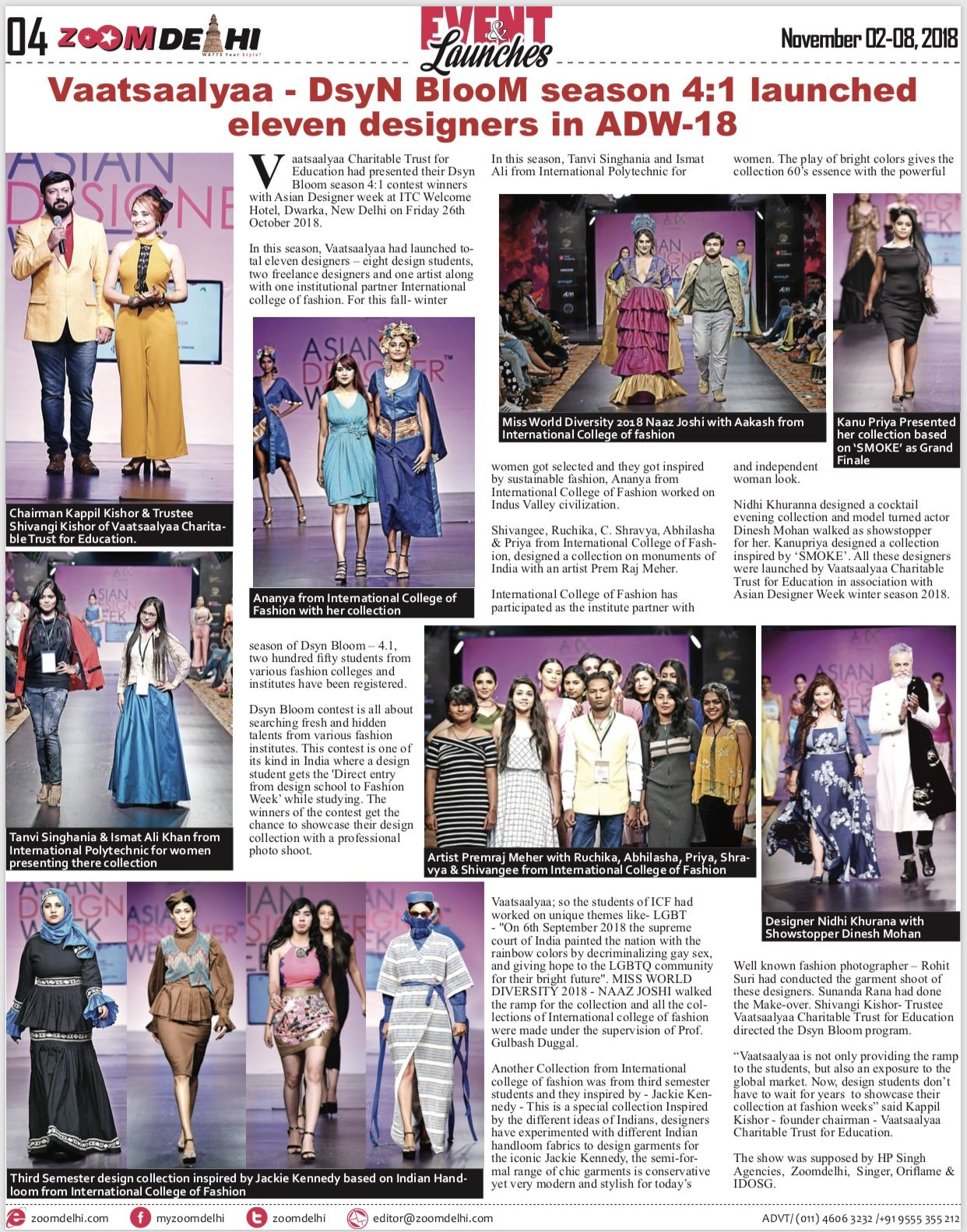 Zoomdelhi News Coverage Of Designers Launched By Vaatsaalyaa Dsyn Bloom Concept By Dr Kappil Kishor In Asian De Asian Designers College Fashion Product Launch