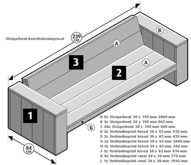 Steigerhout #tuinbank #bouwtekening, houten tuinbank XL maken van steigerhout    Steigerhout