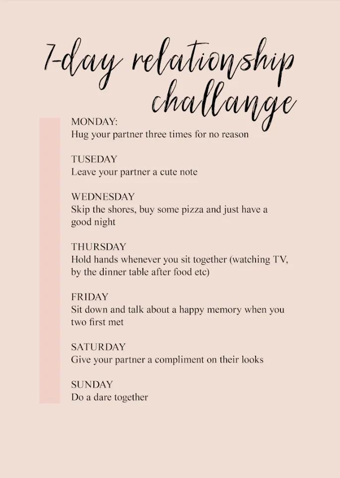 7 Day Relationship Challenge Relationship Challenge Relationship Challenges