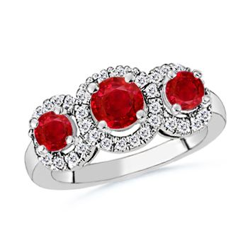 Angara 3 Stone Ruby Engagement Ring in White Gold V7zsAvKq