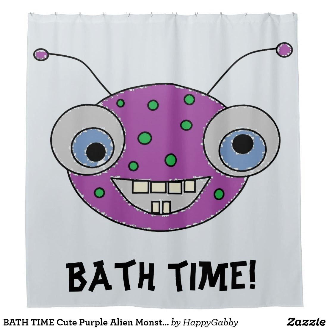 Bath Time Cute Purple Alien Monster Kids Shower Curtain Zazzle