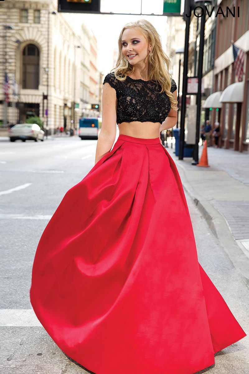 d5dd51fb14 Jovani- 26022 Black and red two piece gown with lace cropped bodice and flared  satin skirt.