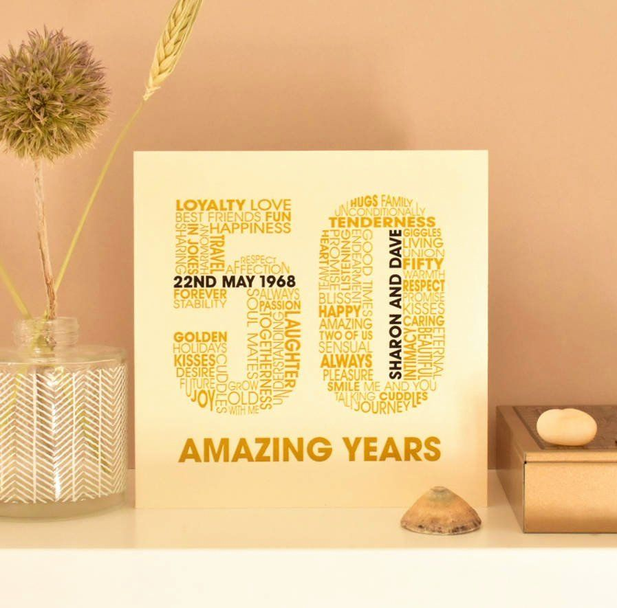 anniversary card for husband fresh personalised golden
