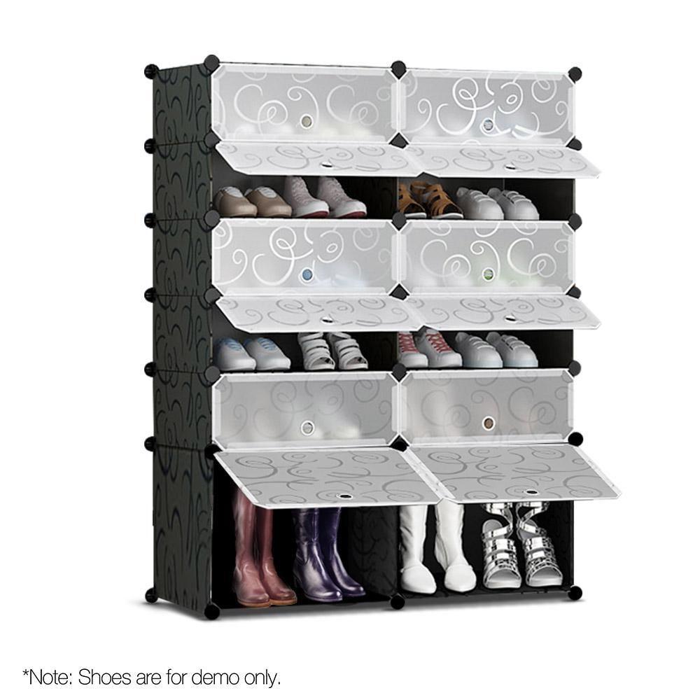 12 Cube Stackable Shoe Rack Storage Cabinet Black White Diy